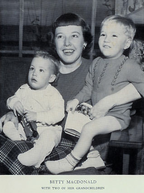 photo of Betty MacDonald and two children in 1950 costumes
