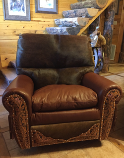 Photo of two-tone recliner with tooling, fringe